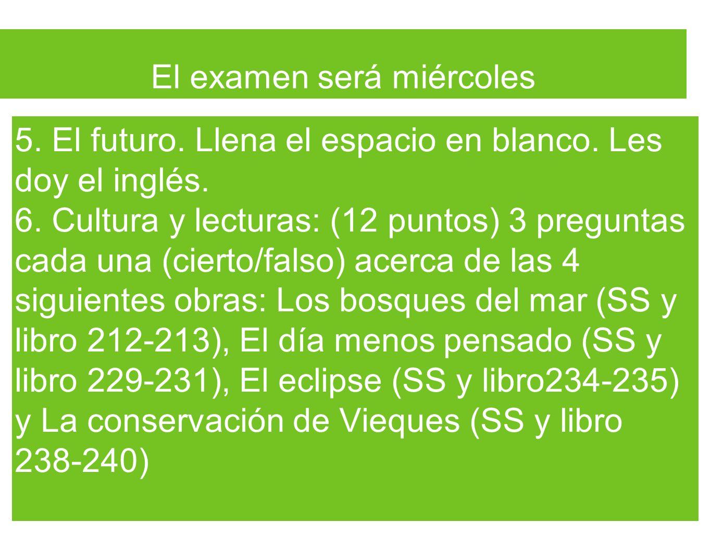 El examen será miércoles 5. El futuro. Llena el espacio en blanco. Les doy el inglés. 6. Cultura y lecturas: (12 puntos) 3 preguntas cada una (cierto/