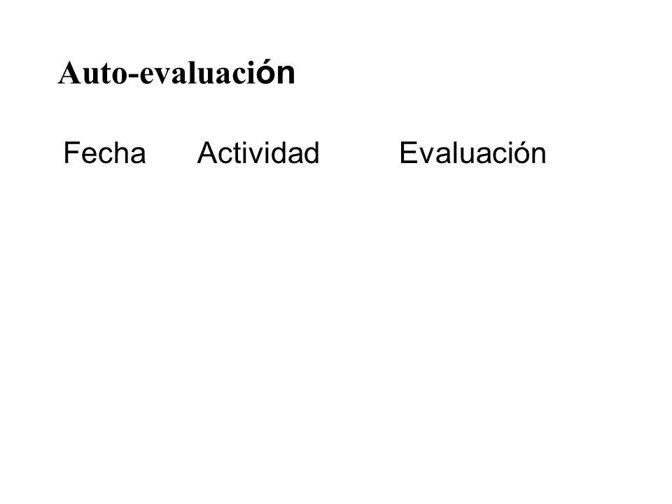 Auto-evaluaci ón FechaActividadEvaluación