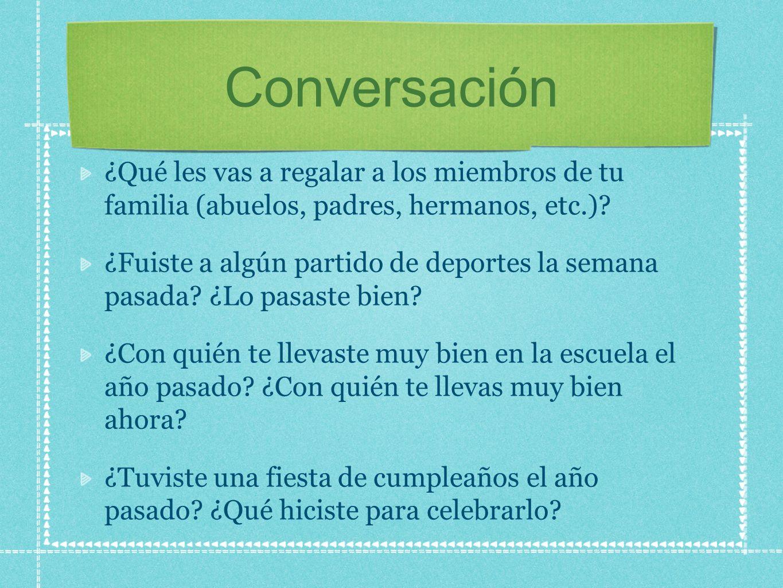 Conversación ¿Qué les vas a regalar a los miembros de tu familia (abuelos, padres, hermanos, etc.)? ¿Fuiste a algún partido de deportes la semana pasa