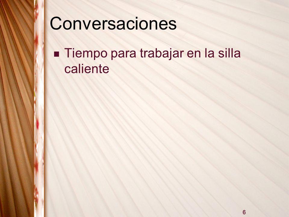 6 Conversaciones Tiempo para trabajar en la silla caliente 6