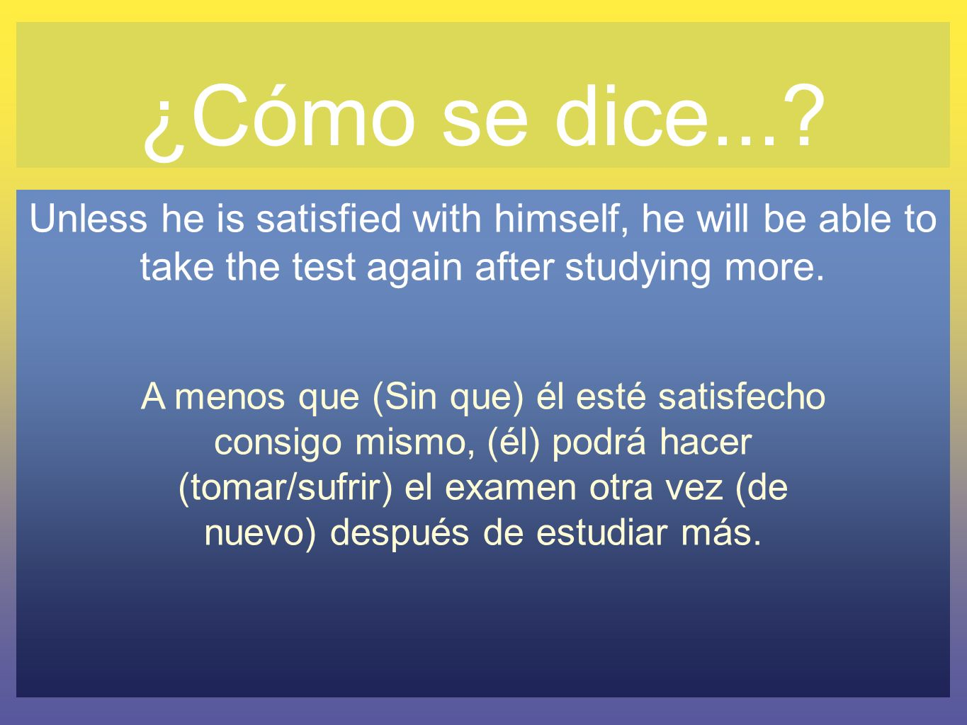 ¿Cómo se dice...? Unless he is satisfied with himself, he will be able to take the test again after studying more. A menos que (Sin que) él esté satis
