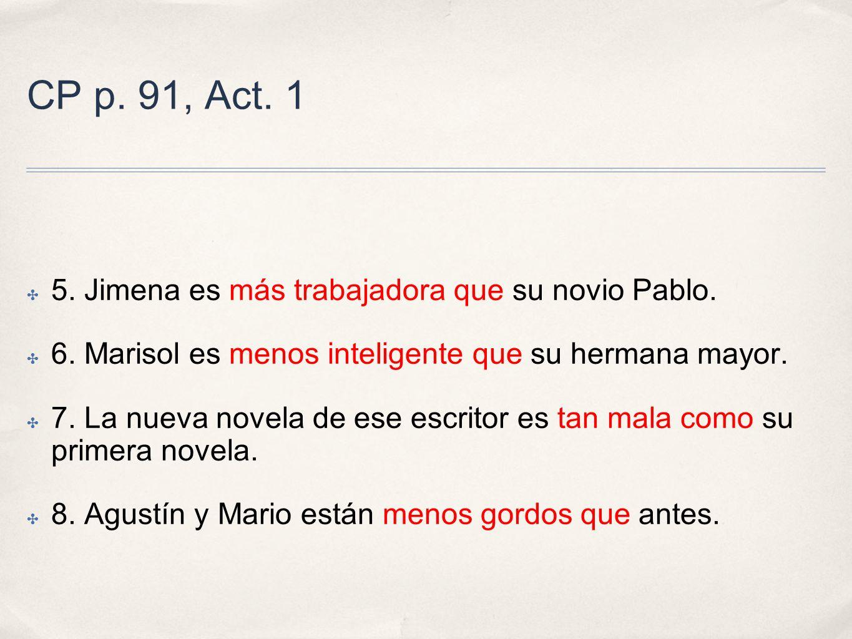 CP p.91, Act. 2 1. Gloria Estefan es más famosa que mi hermana.
