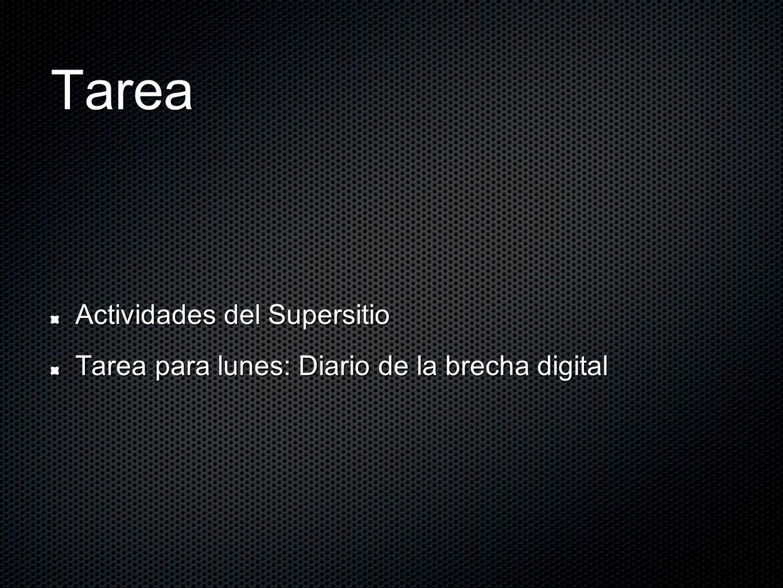 Tarea Actividades del Supersitio Tarea para lunes: Diario de la brecha digital