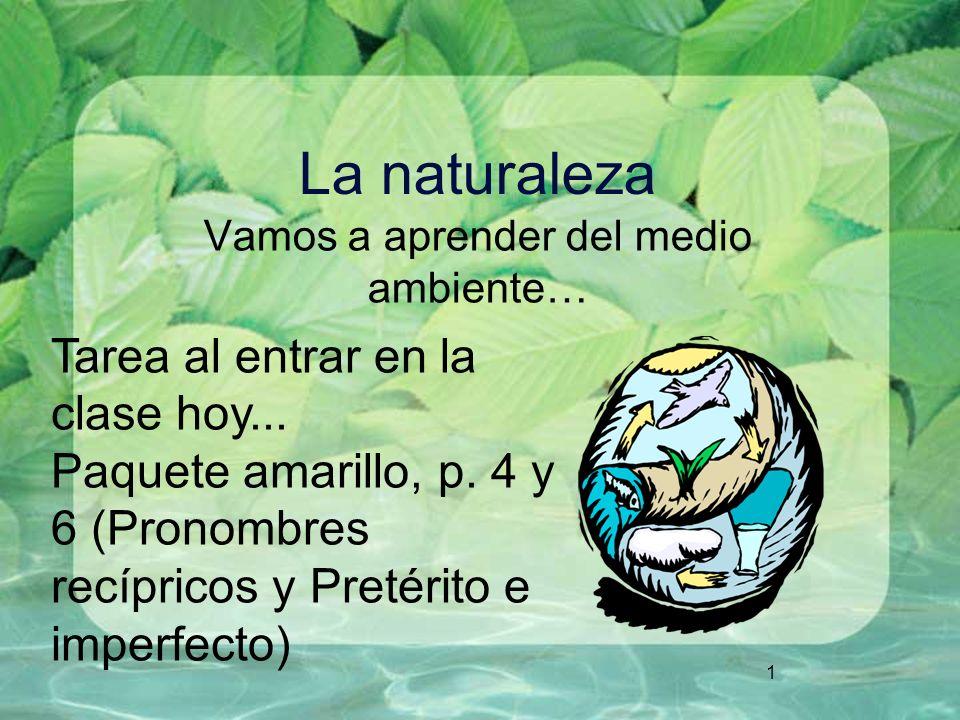 1 La naturaleza Vamos a aprender del medio ambiente… Tarea al entrar en la clase hoy... Paquete amarillo, p. 4 y 6 (Pronombres recípricos y Pretérito