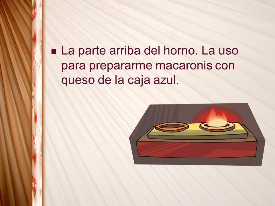 La parte arriba del horno. La uso para prepararme macaronis con queso de la caja azul.