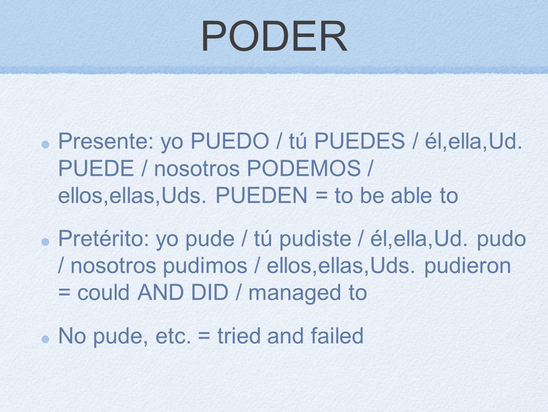 PODER Presente: yo PUEDO / tú PUEDES / él,ella,Ud. PUEDE / nosotros PODEMOS / ellos,ellas,Uds. PUEDEN = to be able to Pretérito: yo pude / tú pudiste