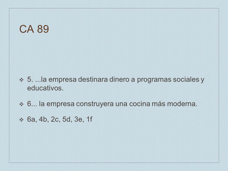 CA 89 5....la empresa destinara dinero a programas sociales y educativos. 6... la empresa construyera una cocina más moderna. 6a, 4b, 2c, 5d, 3e, 1f
