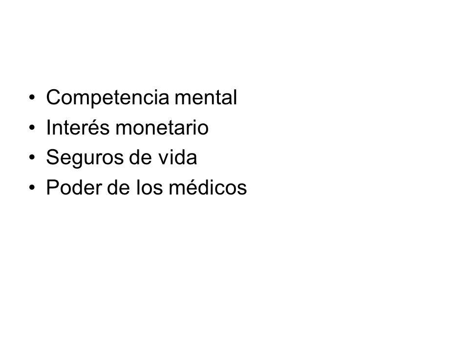 Competencia mental Interés monetario Seguros de vida Poder de los médicos