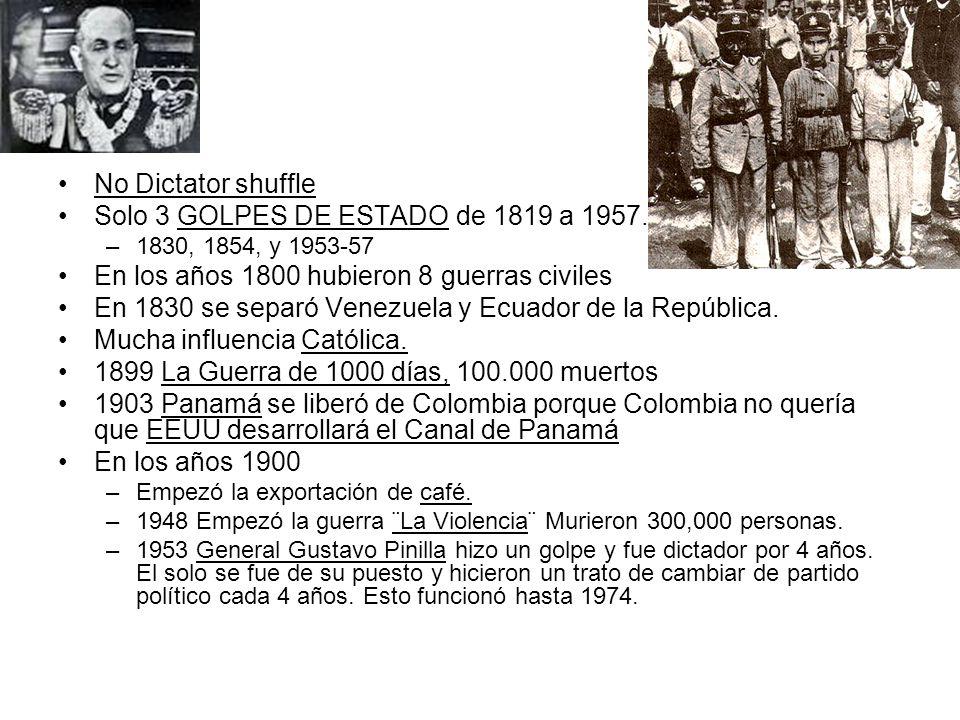No Dictator shuffle Solo 3 GOLPES DE ESTADO de 1819 a 1957. –1830, 1854, y 1953-57 En los años 1800 hubieron 8 guerras civiles En 1830 se separó Venez