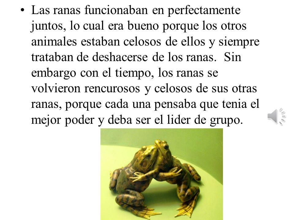 La rana F tenia la abilidad de controlar el fuego. La rana L tenia poder para levitar. La rana V tenia de potencia para llegar a una velocidad increib