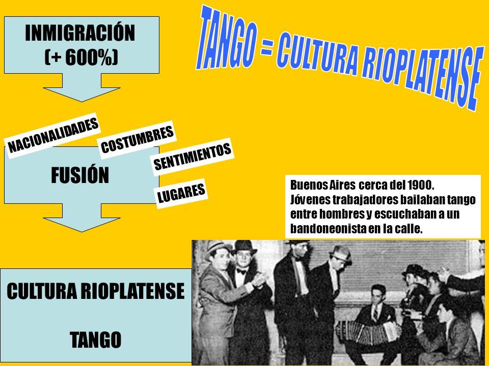 Buenos Aires cerca del 1900. Jóvenes trabajadores bailaban tango entre hombres y escuchaban a un bandoneonista en la calle. CULTURA RIOPLATENSE TANGO
