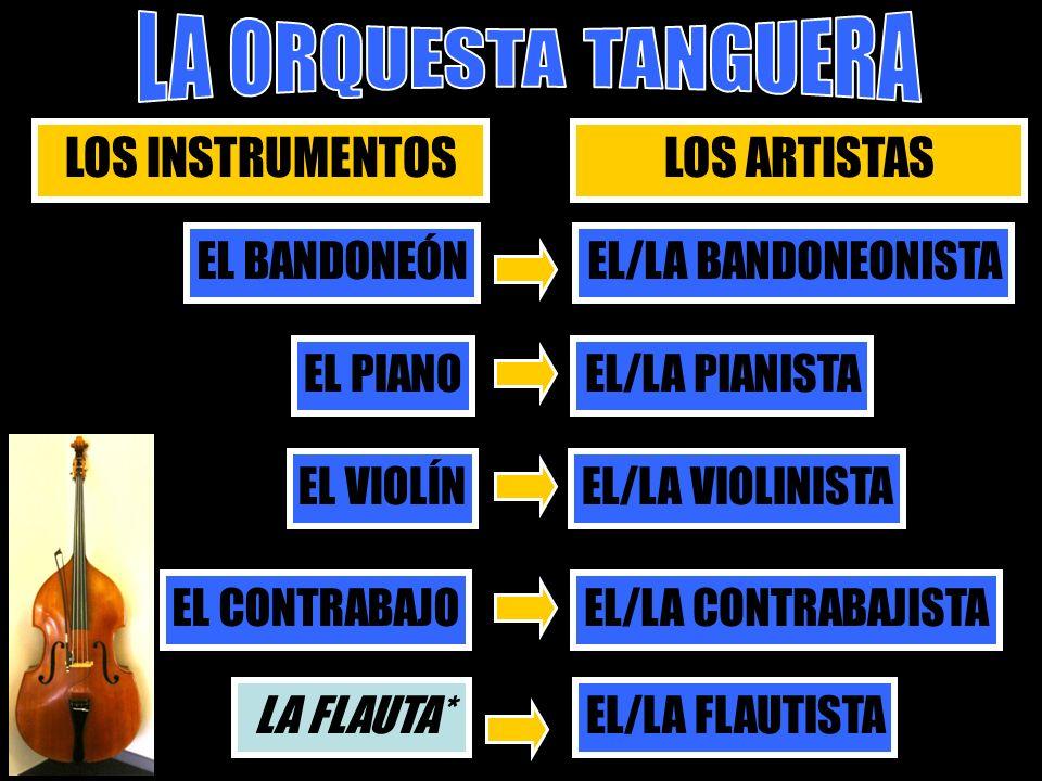 LOS INSTR LOS INSTRUMENTOSLOS ARTISTAS EL BANDONEÓN EL/LA BANDONEONISTA EL PIANO EL/LA PIANISTA EL VIOLÍN EL/LA VIOLINISTA EL CONTRABAJO EL/LA CONTRAB