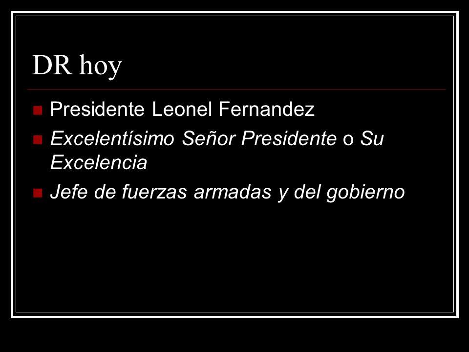 DR hoy Presidente Leonel Fernandez Excelentísimo Señor Presidente o Su Excelencia Jefe de fuerzas armadas y del gobierno