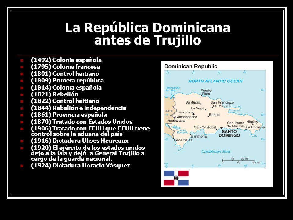 La República Dominicana antes de Trujillo (1492) Colonia española (1795) Colonia francesa (1801) Control haitiano (1809) Primera república (1814) Colo