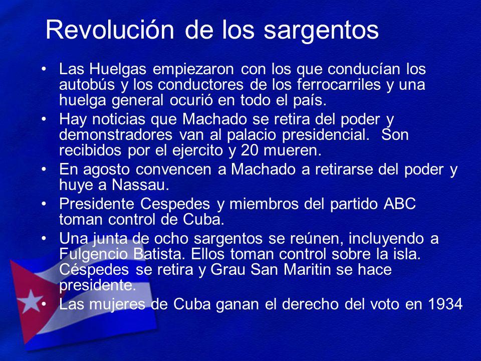 Revolución de los sargentos Las Huelgas empiezaron con los que conducían los autobús y los conductores de los ferrocarriles y una huelga general ocuri