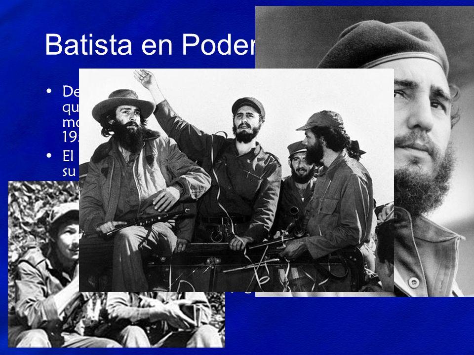 Batista en Poder Después del golpe habían muchos disidentes que querían que Batista dejara el poder. Un grupo llamado el movimiento del 26 de Julio at