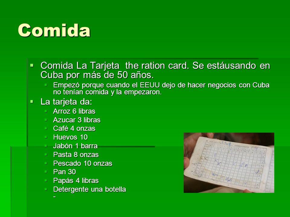 Comida Comida La Tarjeta the ration card. Se estáusando en Cuba por más de 50 años. Comida La Tarjeta the ration card. Se estáusando en Cuba por más d