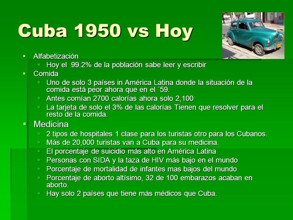 Cuba 1950 vs Hoy Alfabetización Alfabetización Hoy el 99.2% de la población sabe leer y escribir Hoy el 99.2% de la población sabe leer y escribir Com