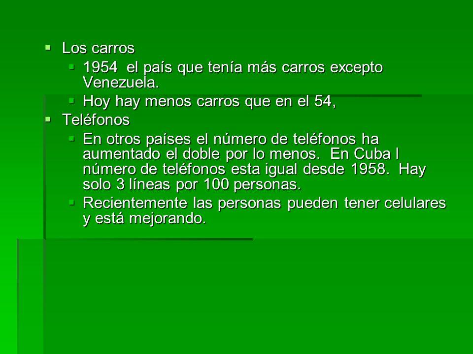 Los carros Los carros 1954 el país que tenía más carros excepto Venezuela. 1954 el país que tenía más carros excepto Venezuela. Hoy hay menos carros q