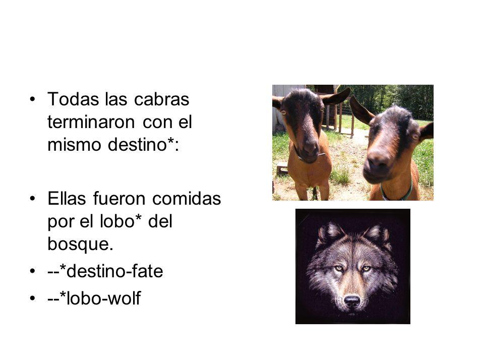 Todas las cabras terminaron con el mismo destino*: Ellas fueron comidas por el lobo* del bosque. --*destino-fate --*lobo-wolf
