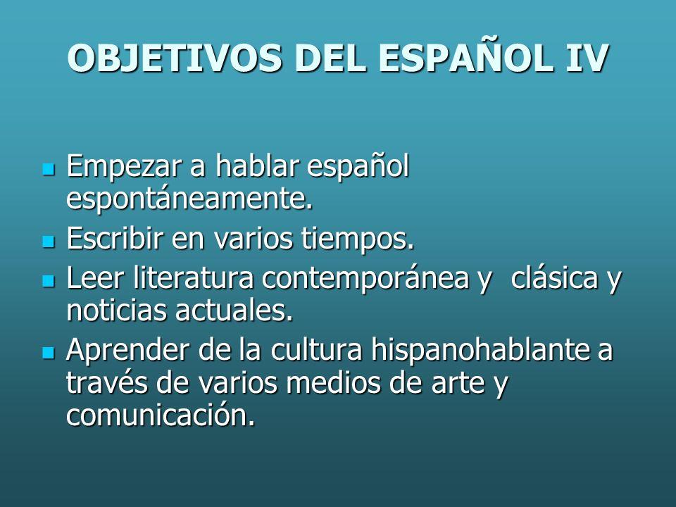 OBJETIVOS DEL ESPAÑOL IV Empezar a hablar español espontáneamente.