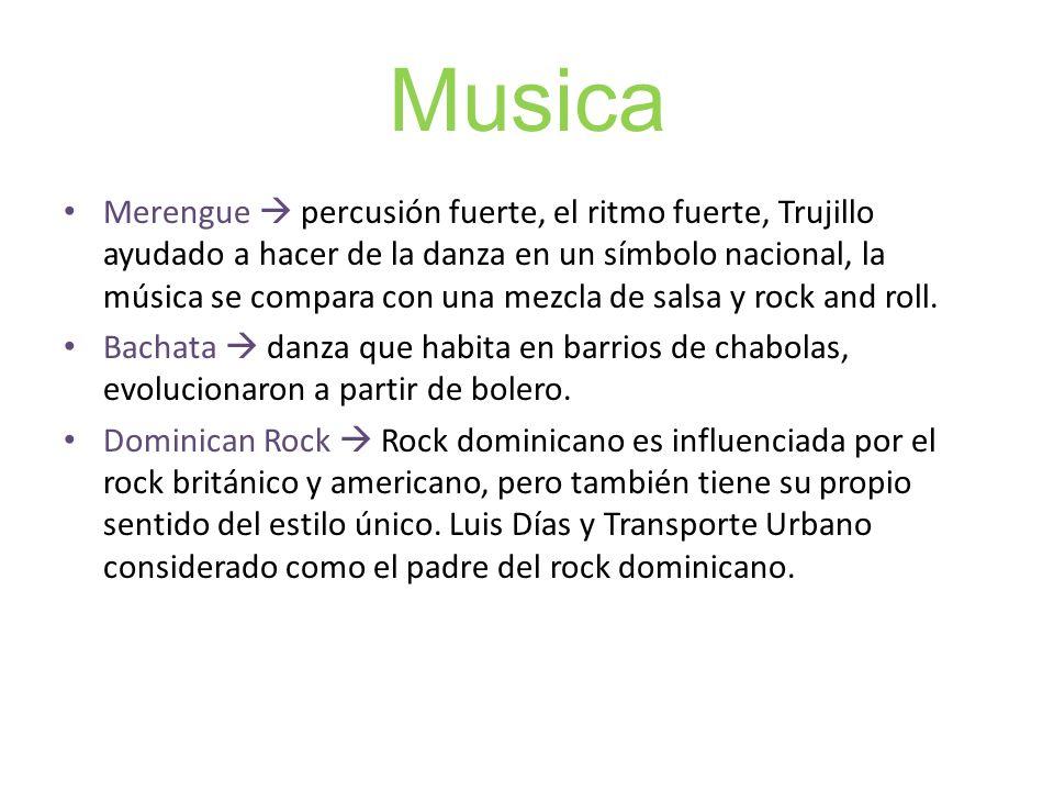 Musica Merengue percusión fuerte, el ritmo fuerte, Trujillo ayudado a hacer de la danza en un símbolo nacional, la música se compara con una mezcla de