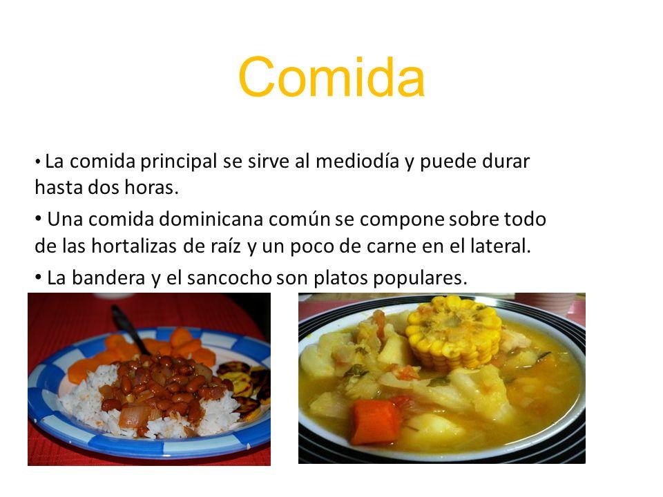 Comida La comida principal se sirve al mediodía y puede durar hasta dos horas. Una comida dominicana común se compone sobre todo de las hortalizas de