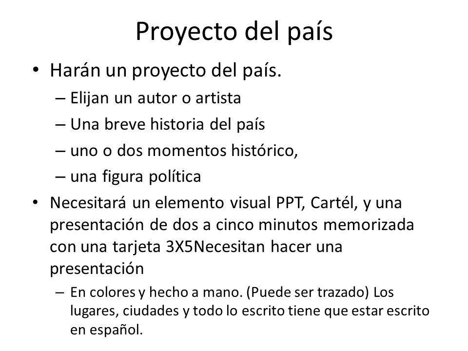 Proyecto del país Harán un proyecto del país. – Elijan un autor o artista – Una breve historia del país – uno o dos momentos histórico, – una figura p