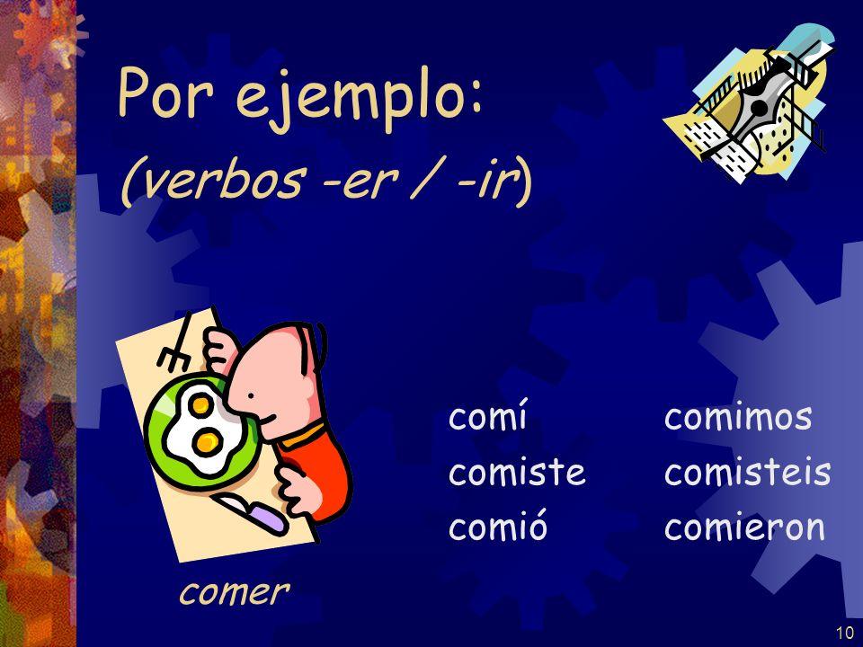 9 (verbos -ar) trabajé trabajaste trabajó trabajamos trabajasteis trabajaron Por ejemplo: trabajar