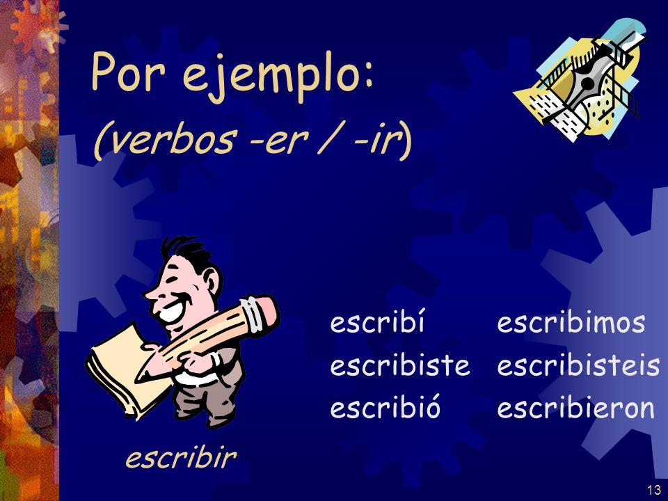 12 (verbos -er / -ir ) abrí abriste abrió abrimos abristeis abrieron Por ejemplo: abrir
