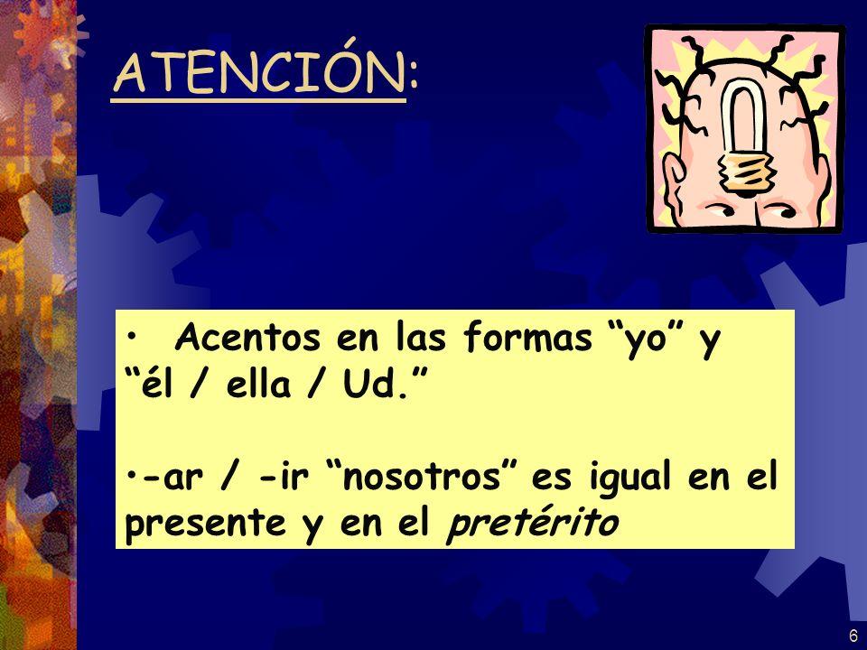 5 -í -iste -ió -imos -isteis -ieron Terminaciones para –ER e -IR: