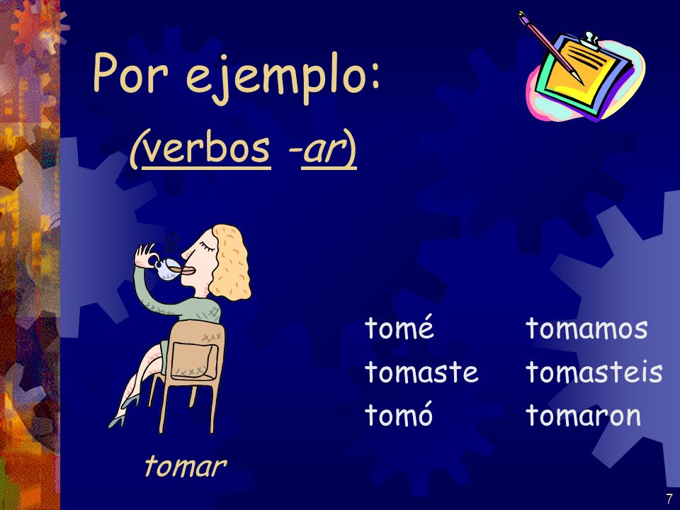 17 practiqué practicaste practicó practicamos practicasteis practicaron Por ejemplo: practicar (verbos -car)