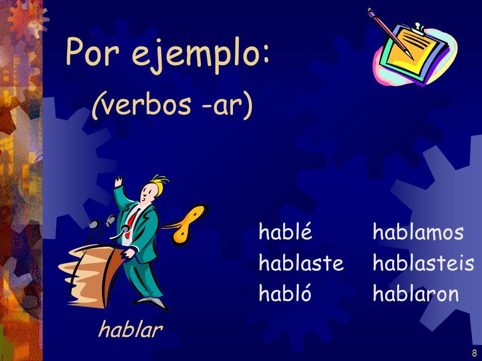 7 (verbos -ar) tomé tomaste tomó tomamos tomasteis tomaron Por ejemplo: tomar