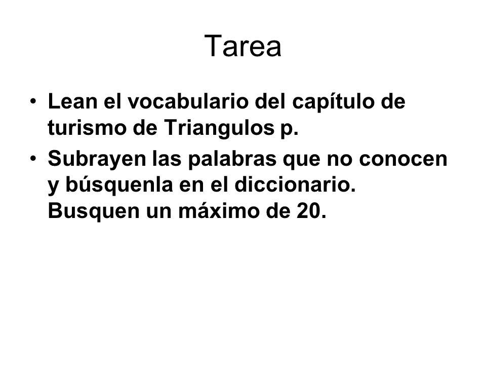Tarea Lean el vocabulario del capítulo de turismo de Triangulos p. Subrayen las palabras que no conocen y búsquenla en el diccionario. Busquen un máxi