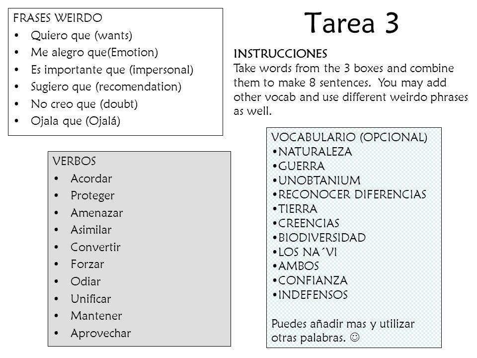 Tarea 4 Completa la sopa de vocabulario y los ejercicios de subjuntivo.
