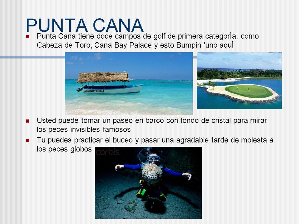 PUNTA CANA Punta Cana tiene doce campos de golf de primera categorÌa, como Cabeza de Toro, Cana Bay Palace y esto Bumpin 'uno aquÌ Usted puede tomar u