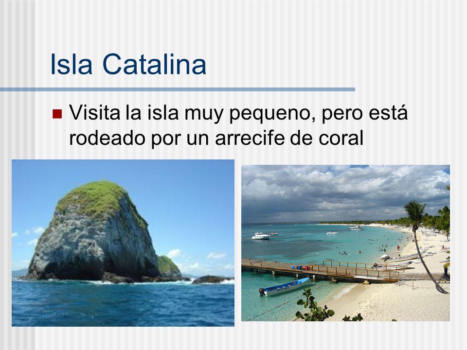 Isla Catalina Visita la isla muy pequeno, pero está rodeado por un arrecife de coral