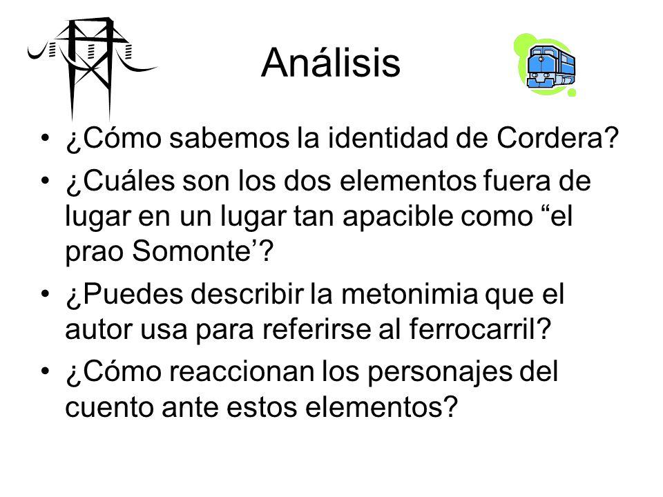 Análisis ¿Cómo sabemos la identidad de Cordera? ¿Cuáles son los dos elementos fuera de lugar en un lugar tan apacible como el prao Somonte? ¿Puedes de