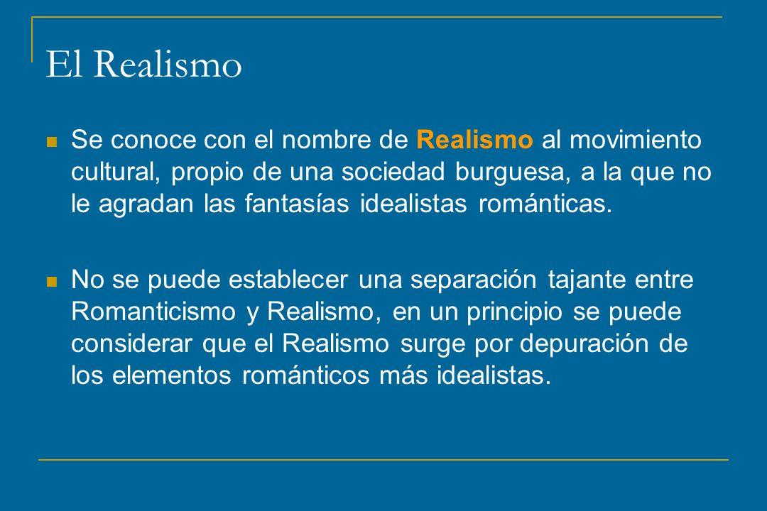 El Realismo Se conoce con el nombre de Realismo al movimiento cultural, propio de una sociedad burguesa, a la que no le agradan las fantasías idealist