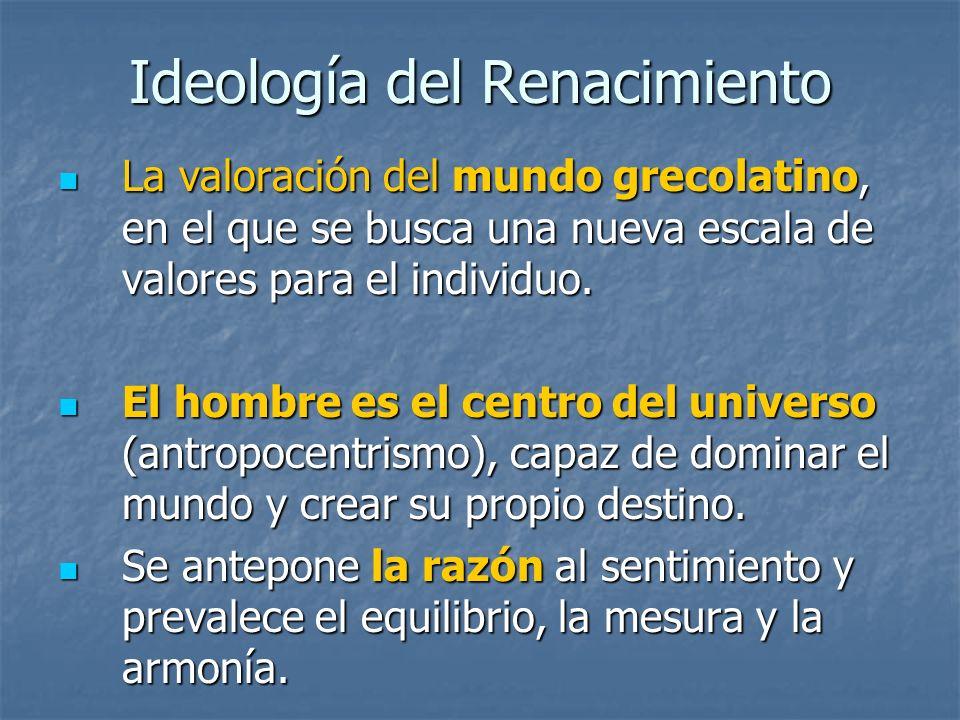 Ideología del Renacimiento La valoración del mundo grecolatino, en el que se busca una nueva escala de valores para el individuo. La valoración del mu