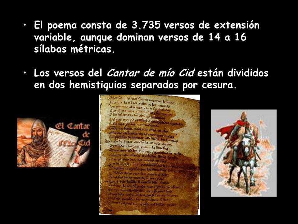 El poema consta de 3.735 versos de extensión variable, aunque dominan versos de 14 a 16 sílabas métricas. Los versos del Cantar de mío Cid están divid