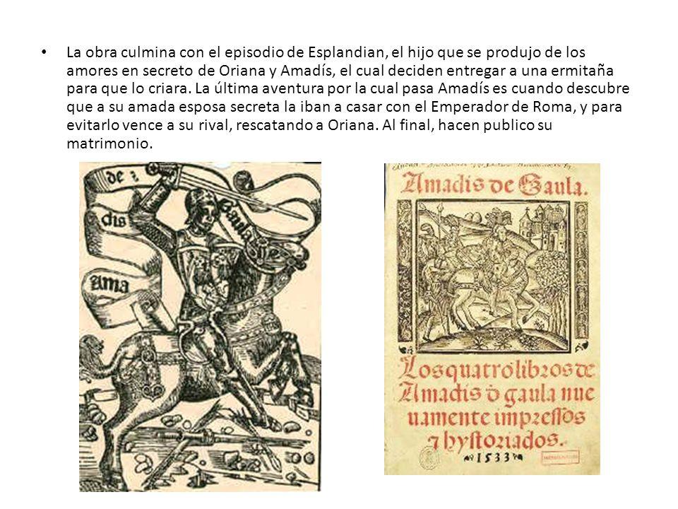 La obra culmina con el episodio de Esplandian, el hijo que se produjo de los amores en secreto de Oriana y Amadís, el cual deciden entregar a una ermi