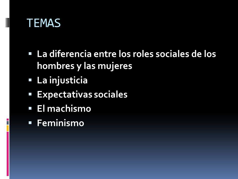 TEMAS La diferencia entre los roles sociales de los hombres y las mujeres La injusticia Expectativas sociales El machismo Feminismo