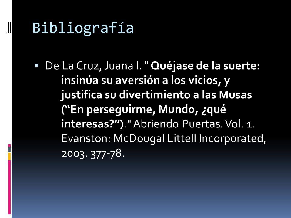 Bibliografía De La Cruz, Juana I.