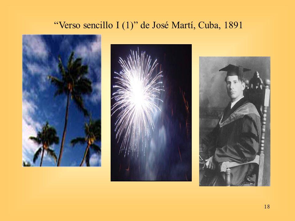 18 Verso sencillo I (1) de José Martí, Cuba, 1891