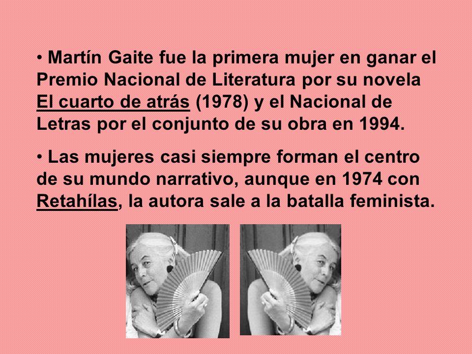 Martín Gaite fue la primera mujer en ganar el Premio Nacional de Literatura por su novela El cuarto de atrás (1978) y el Nacional de Letras por el con