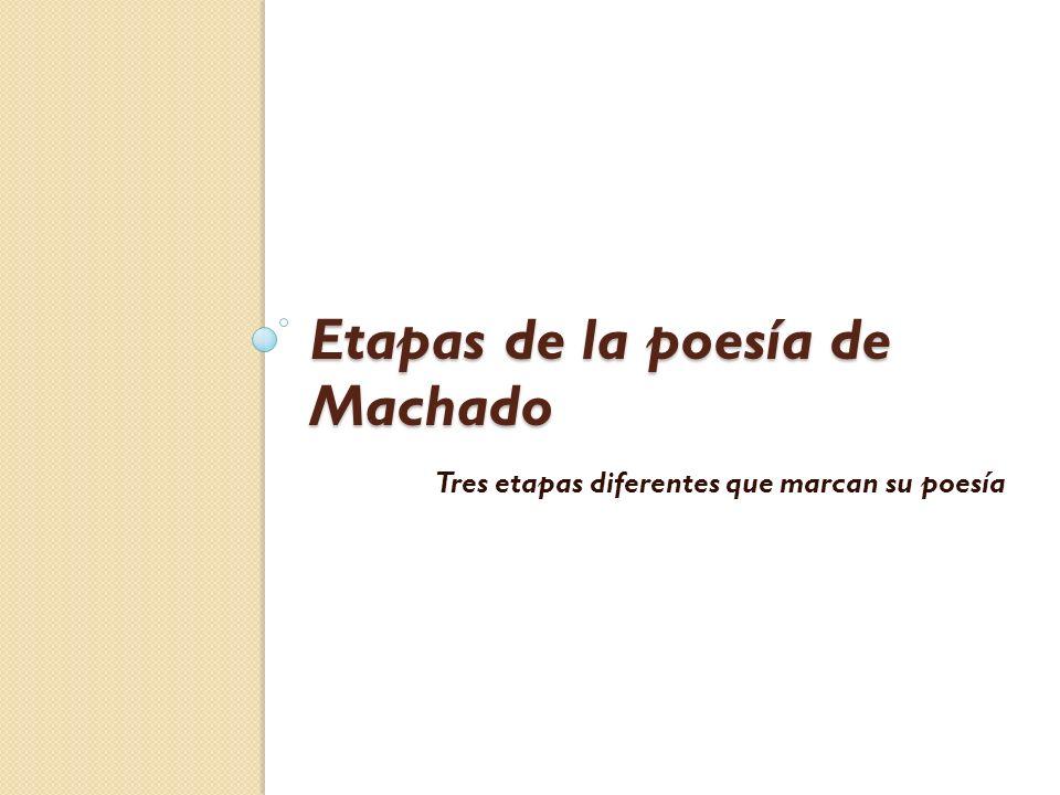 Etapas de la poesía de Machado Tres etapas diferentes que marcan su poesía