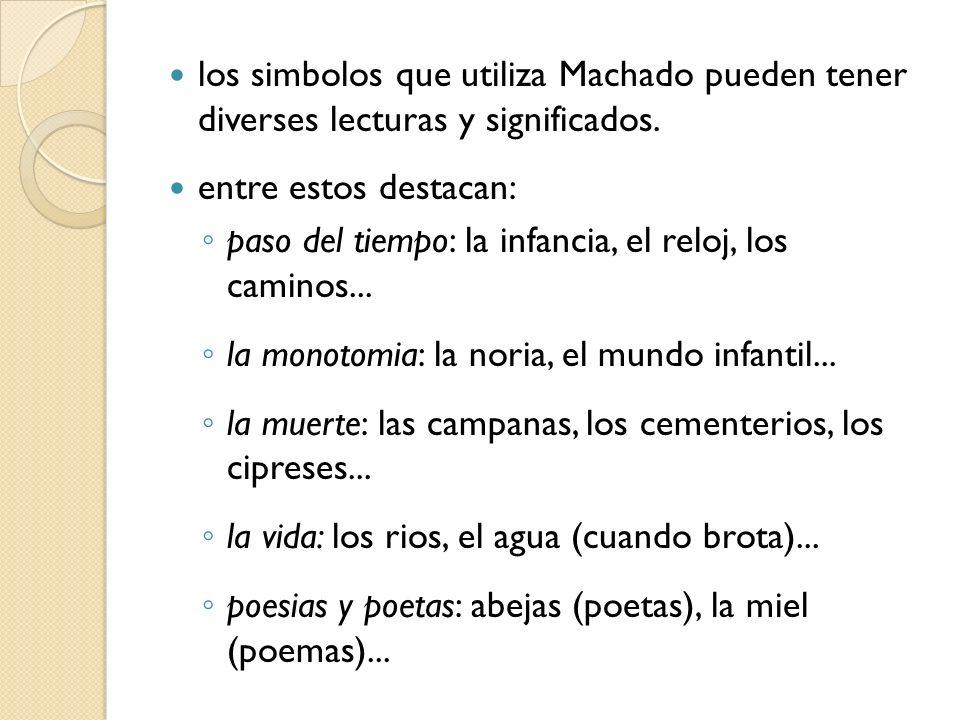 los simbolos que utiliza Machado pueden tener diverses lecturas y significados. entre estos destacan: paso del tiempo: la infancia, el reloj, los cami