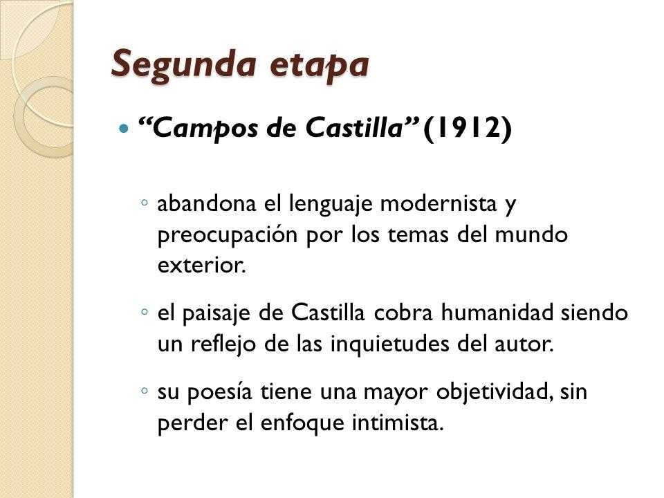 Segunda etapa Campos de Castilla (1912) abandona el lenguaje modernista y preocupación por los temas del mundo exterior. el paisaje de Castilla cobra