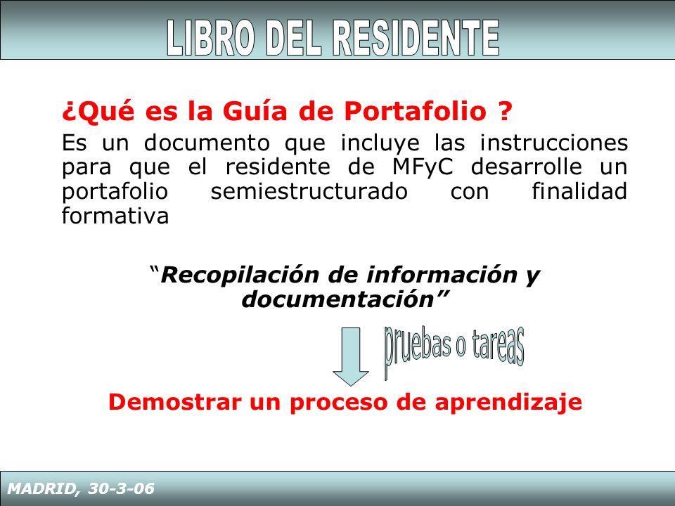 ¿Qué es la Guía de Portafolio ? Es un documento que incluye las instrucciones para que el residente de MFyC desarrolle un portafolio semiestructurado
